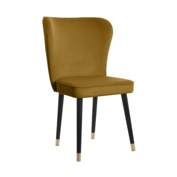 Hořčicová jídelní židle s detaily ve zlaté barvě JohnsonStyle Odette French Velvet