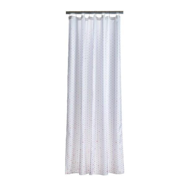 Drops fehér zuhanyfüggöny, rózsaszín mintával - Zone