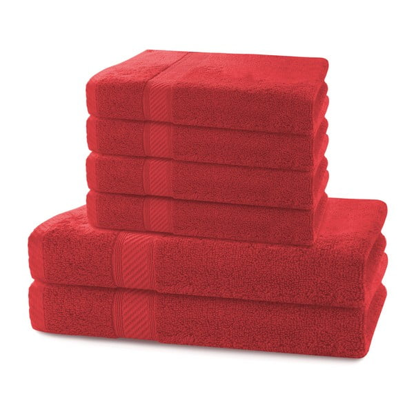 Set 2 červených osušek a 4 ručníků DecoKing Bamby