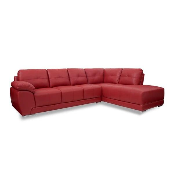 Červená kožená pohovka s lenoškou na pravé straně Furnhouse Carrie