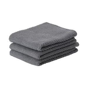 Sada 3 tmavě šedých bavlněných kuchyňských utěrek Zone Prado, 27x27cm
