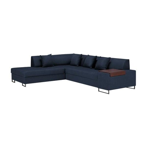 Canapea extensibilă pe colț cu picioarele de culoare neagră Cosmopolitan Orlando, pe partea stângă, albastru