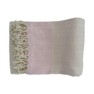 Prosop țesut manual din bumbac premium Nefs, 100 x 80 cm, roz - alb