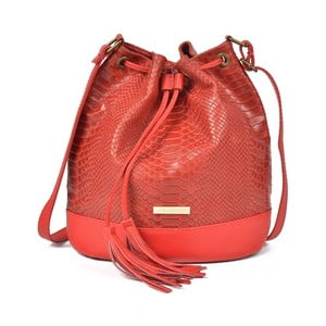 Červená kožená kabelka Luisa Vannini Dora