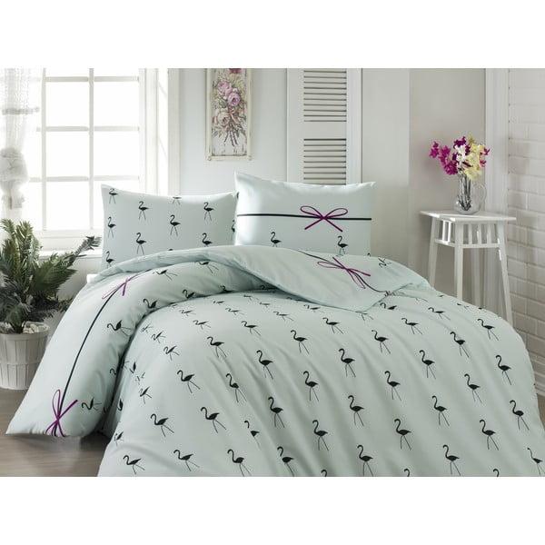 Lenjerie de pat cu cearșaf din bumbac și 2 fețe de perne pentru pat dublu Flamingo Mint, 200 x 220 cm