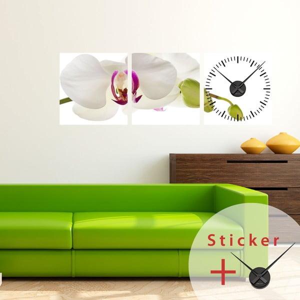 Samolepící hodiny Orchid, 40x120 cm