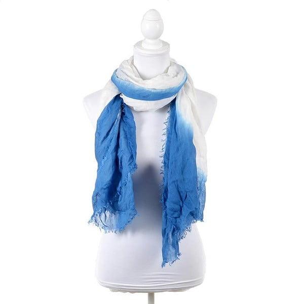 Šátek/pareo BLE Inart 100x180 cm, bílý/modrý