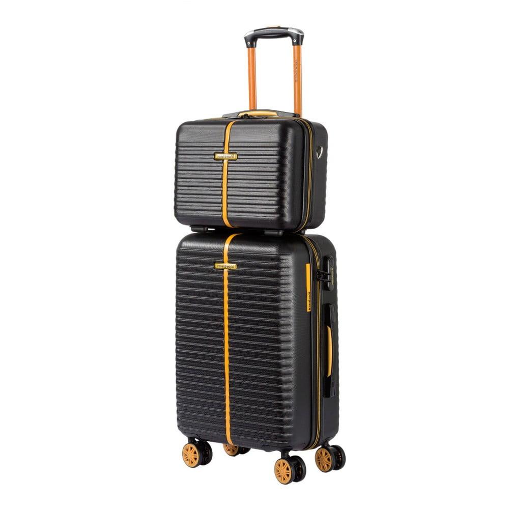 Set černého kosmetického kufříku a kufru na kolečkách Travel World