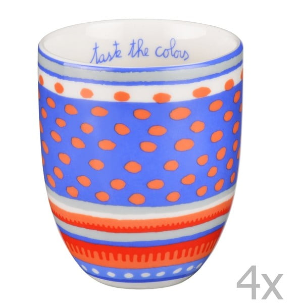 Sada 4 porcelánových šálků s puntíky Oilily 200 ml, modrá