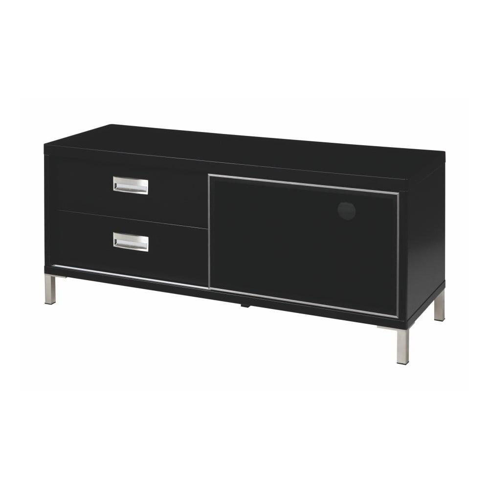 Černý televizní stolek se dvěma šuplíky Folke Satyr, délka 116 cm