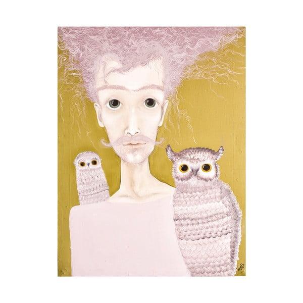 Autorský plakát od Lény Brauner Pán se sovami, 47x60 cm