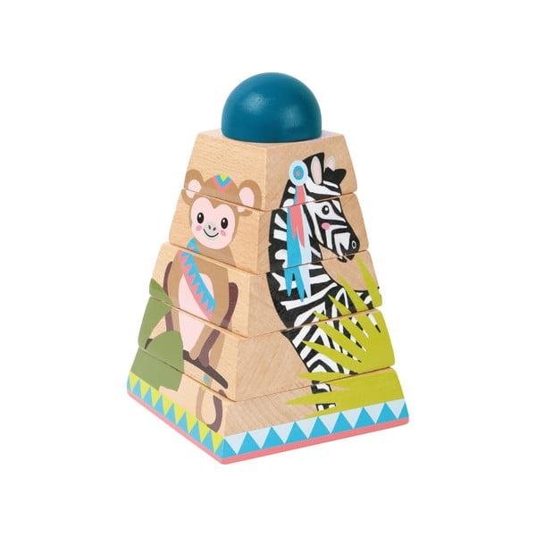 Dziecięce drewniane puzzle 3D w kształcie wieży Legler Jungle