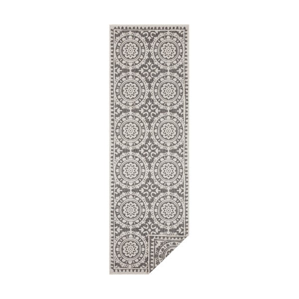 Šedo-krémový venkovní koberec Bougari Jardin, 80 x 350 cm