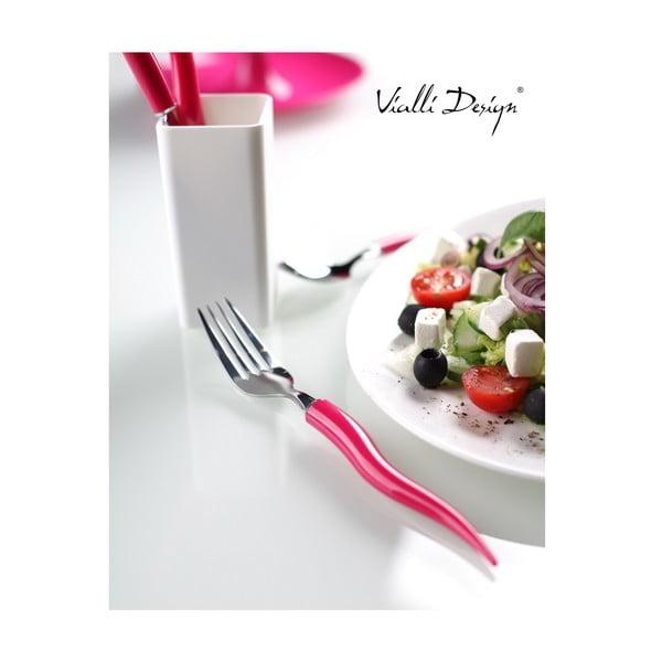Sada příboru Mio Tullio 5 ks, růžová/bílá
