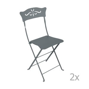 Sada 2 šedých skládacích zahradních židlí Fermob Bagatelle