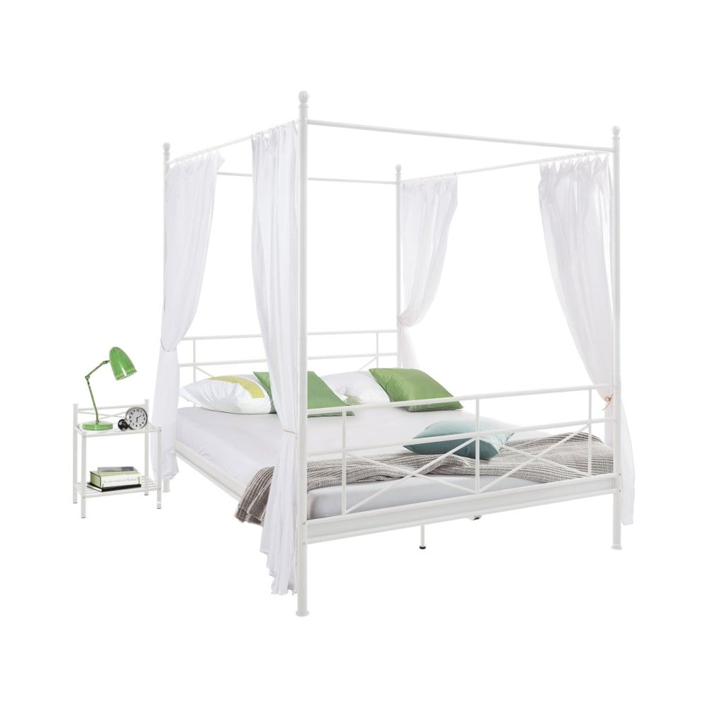 Bílá kovová postel Støraa Tanja Canopy, 140x200cm