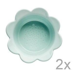 Sada 2 tyrkysových misek Sagaform Piccadilly Květinky, 13x6,5cm