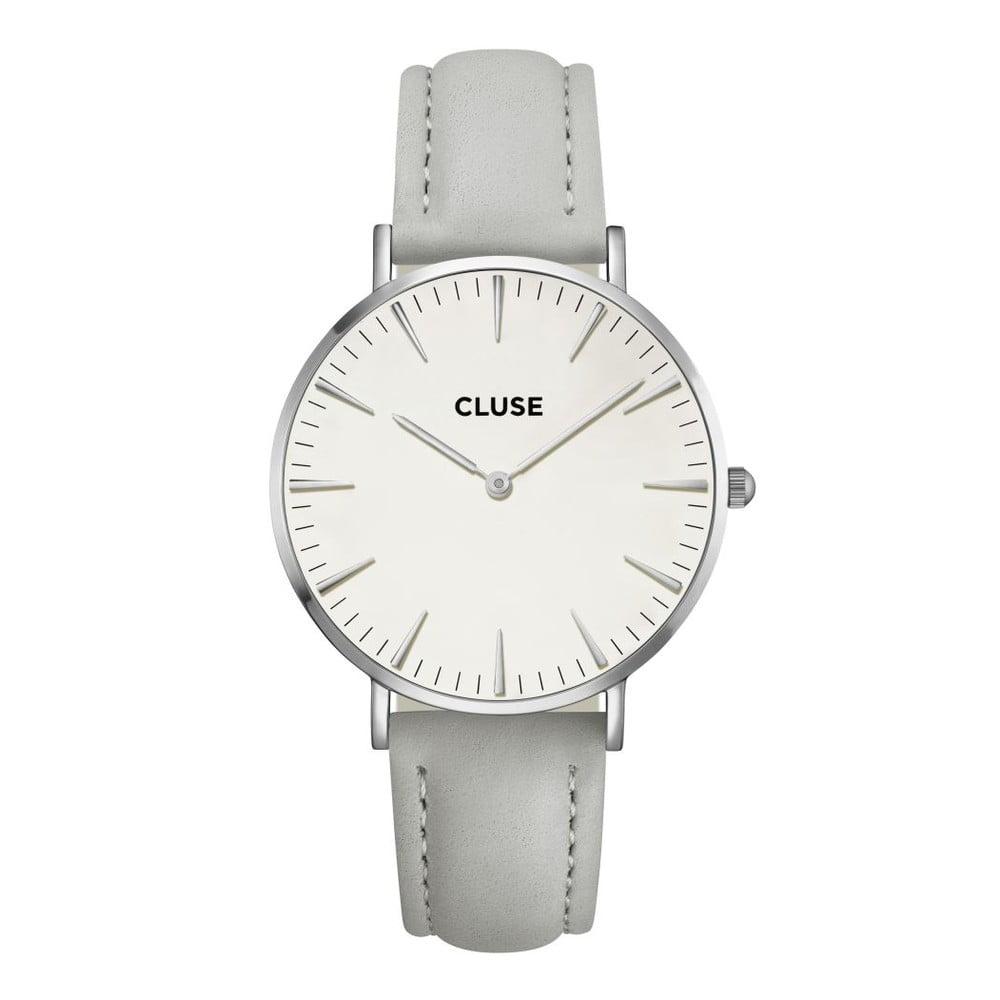 Dámské hodinky s šedým koženým řemínkem a detaily ve stříbrné barvě Cluse  La Bohéme 59af7b69b7