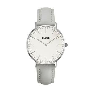 Dámské hodinky s šedým koženým řemínkem a detaily ve stříbrné barvě Cluse La Bohéme
