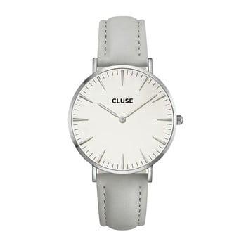 Ceas damă, curea din piele Cluse La Bohéme, gri-argintiu