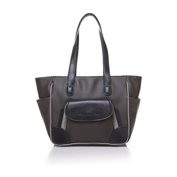 Kožená kabelka přes rameno Marta Ponti Pocket Deux, šedá/béžová
