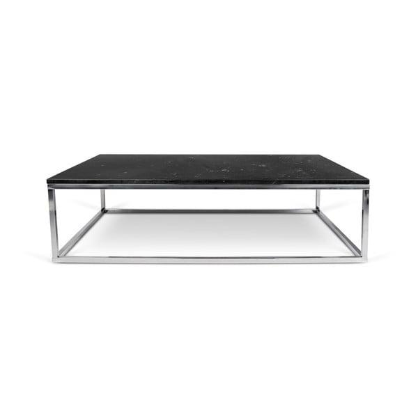 Prairie dohányzóasztal krómozott lábakkal és fekete márvány asztallappal, 75 x 120 cm - TemaHome