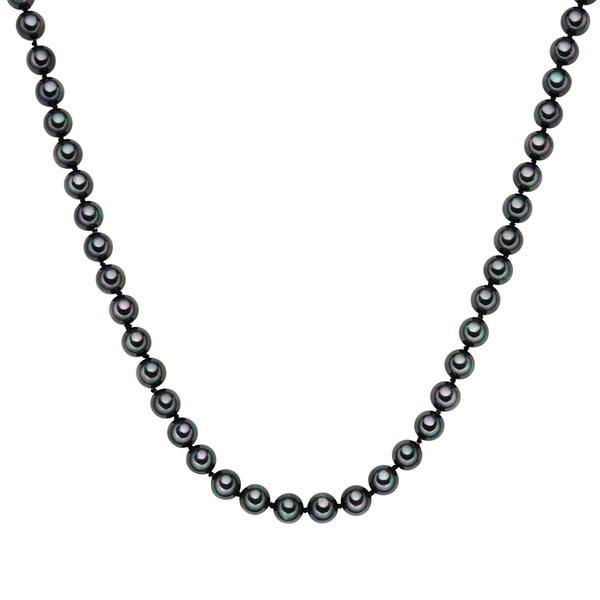Náhrdelník s antracitově černými perlami ⌀8 mm Perldesse Muschel, délka 120 cm