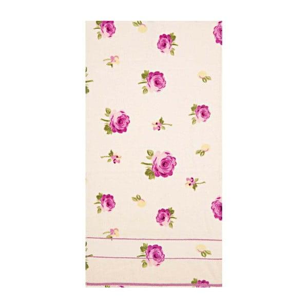 Ručník s potiskem růží, 50x90 cm, růžová