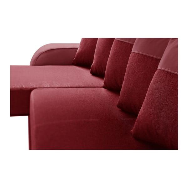 Červená rohová rozkládací pohovka s úložným prostorem Interieur De Famille Paris Destin, levý roh