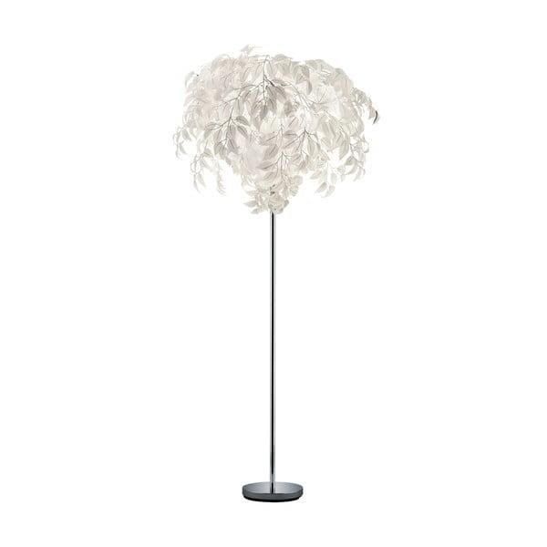 Biela stojacia lampa Trio Leavy, výška 180 cm