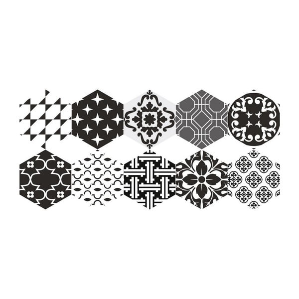 Set 10 autocolante impermeabile pentru podea Ambiance Dolores, 20 x 18 cm