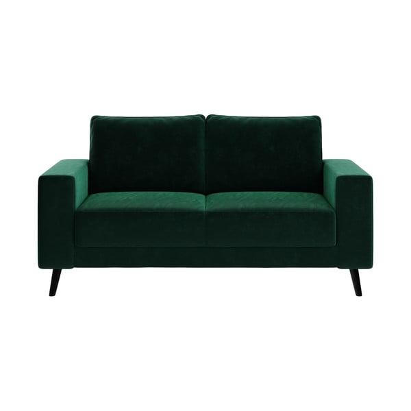 Ciemnozielona sofa z aksamitnym obiciem Ghado Fynn, 168 cm