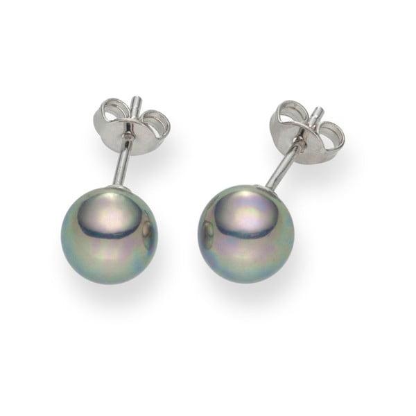 Stříbřitě šedé perlové náušnice Pearls Of London Mystic