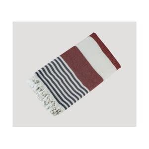 Červeno-modro-bílá ručně tkaná osuška z prémiové bavlny Homemania Turkish Hammam, 90 x 180 cm