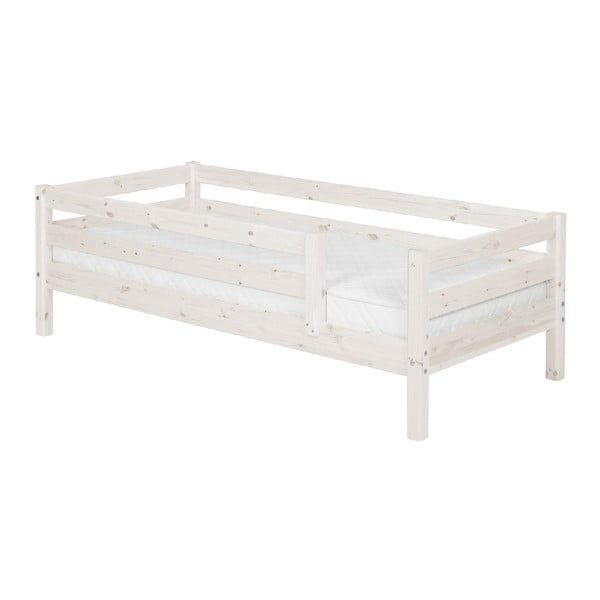 Bílá dětská postel z borovicového dřeva s 3/4 lištami Flexa Classic, 90x200cm