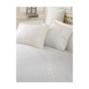 Lenjerie de pat cu cearșaf din bumbac Sincero, 200 x 220 cm, crem