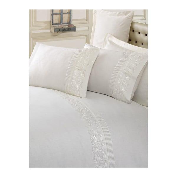 Krémové bavlnené obliečky s plachtou na dvojlôžko Sincero, 200×220 cm