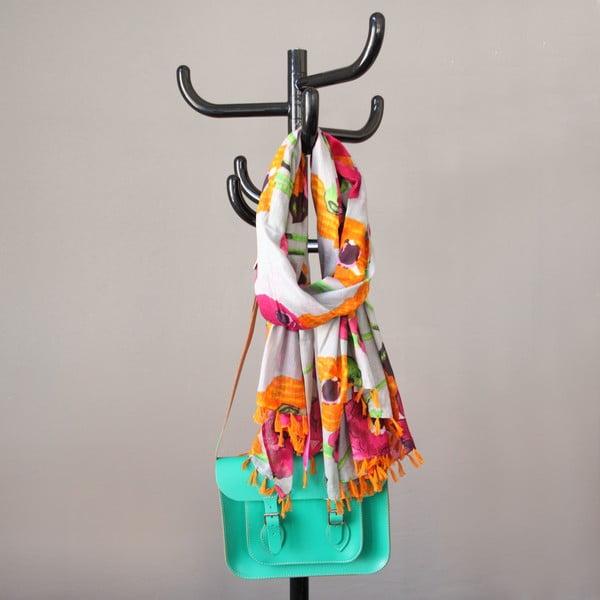 Šátek s motivem květin, oranžová/růžová