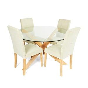 Jídelní sada stolu a 4 židlí Hampton Round