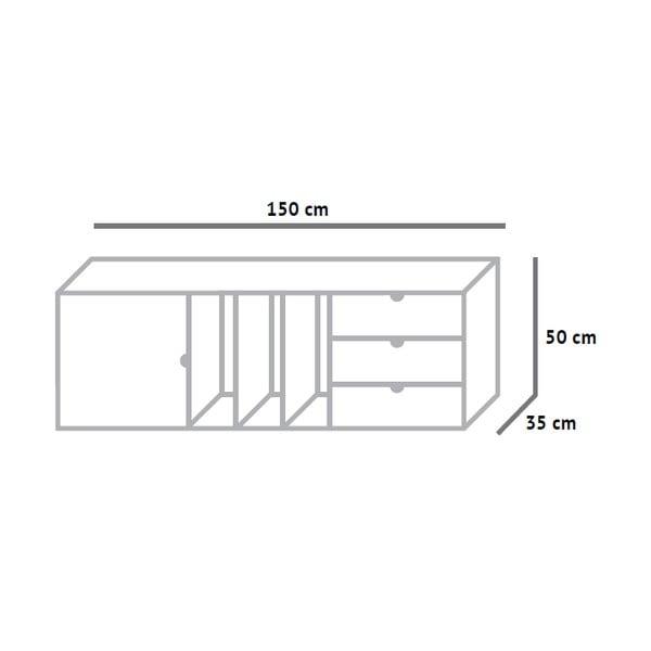 Skříňka s policemi a zásuvkami Fam Fara, délka 150 cm