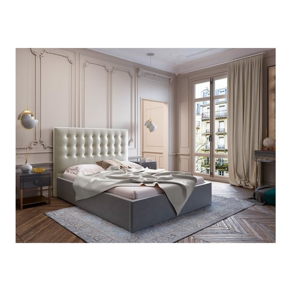 Béžové čelo postele se sametovým potahem Windsor & Co Sofas Athena, 180x120cm