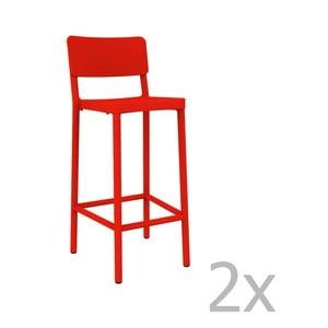 Sada 2 červených barových židlí vhodných do exteriéru Resol Lisboa, výška 102,2 cm