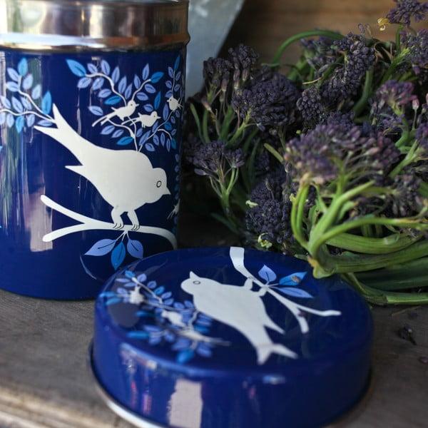 Dóza Eva Hand Painted Tea Tin, tmavě modrá