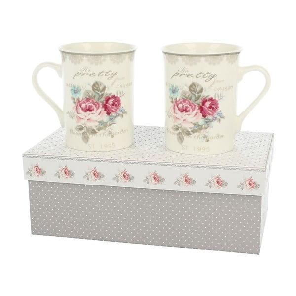 Sada 2 porcelánových hrnků Roses, 0,3 l