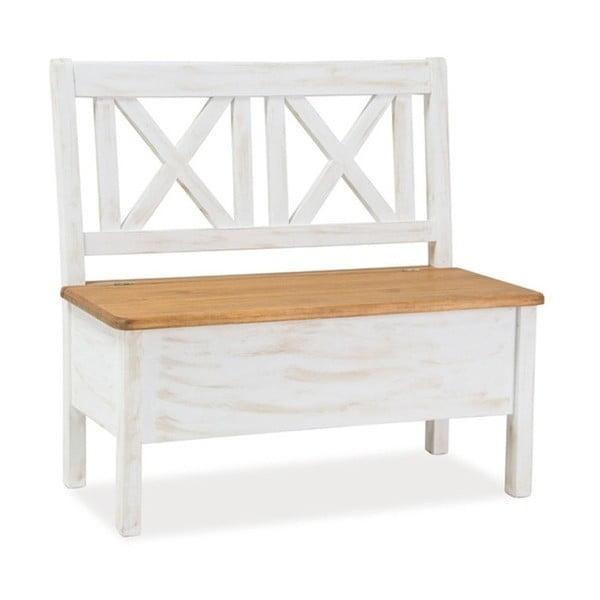 Bílá lavice z borovicového dřeva Signal Poprad
