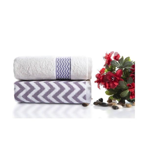 Sada 2 bavlněných fialovo-bílých ručníků Ladik Ella,50x90cm