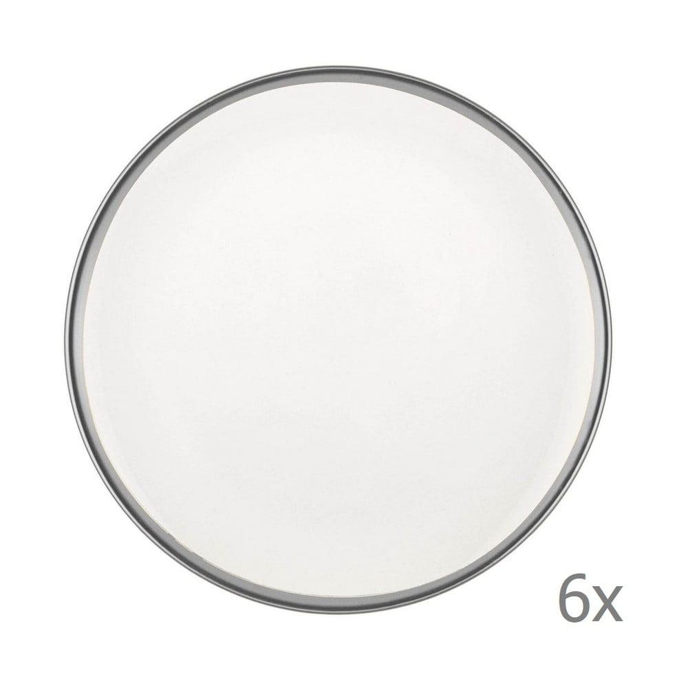 Sada 6 bílých porcelánových dezertních talířů Mia Halos Silver, ⌀ 19 cm