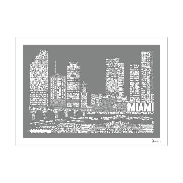Plakát Miami Grey&White, 50x70 cm