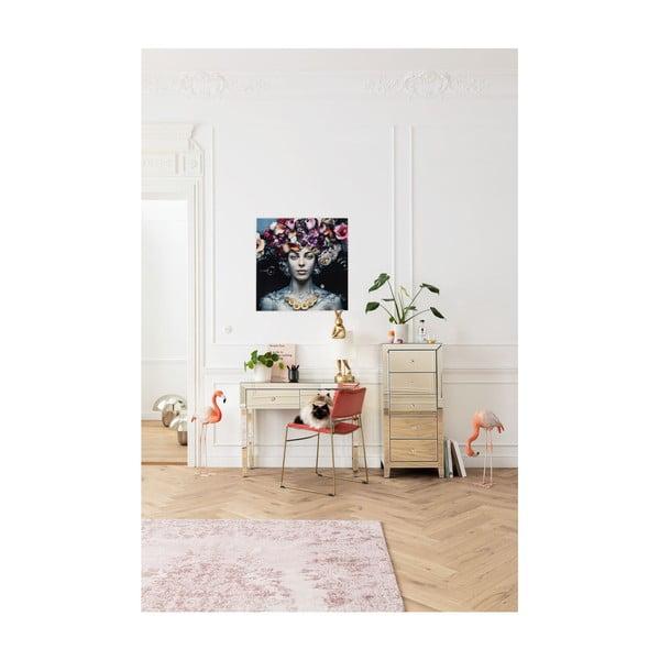 Tablou din sticlă Kare Design Flower Art Lady, 80x80cm