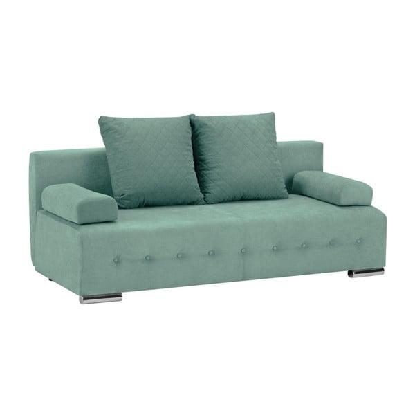 Canapea extensibilă cu 3 locuri și spațiu pentru depozitare Melart Suzanne, verde mentol
